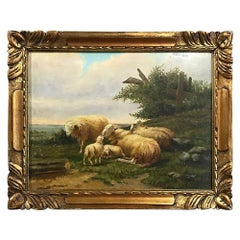 19th Century Oil Painting on Board in Gilded Hand Carved Frame, Ca. 1850