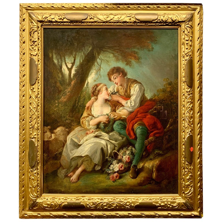 19th Century Oil Painting on Canvas after Francois Boucher For Sale