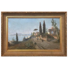 19th Century Oil Painting on Canvas Landscape by George Fischhof, Austria