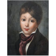 19th Century Oil Painting on Canvas of Boy