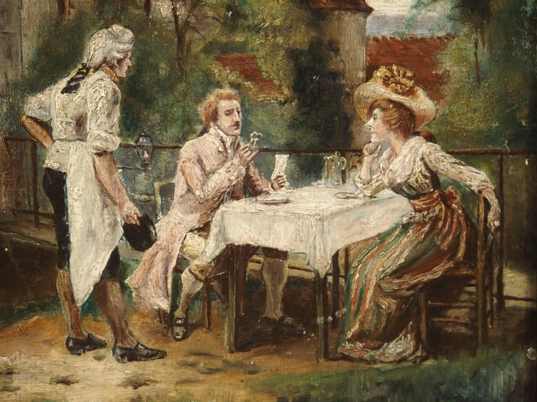 19th Century Oil Painting on Wood from France For Sale 4