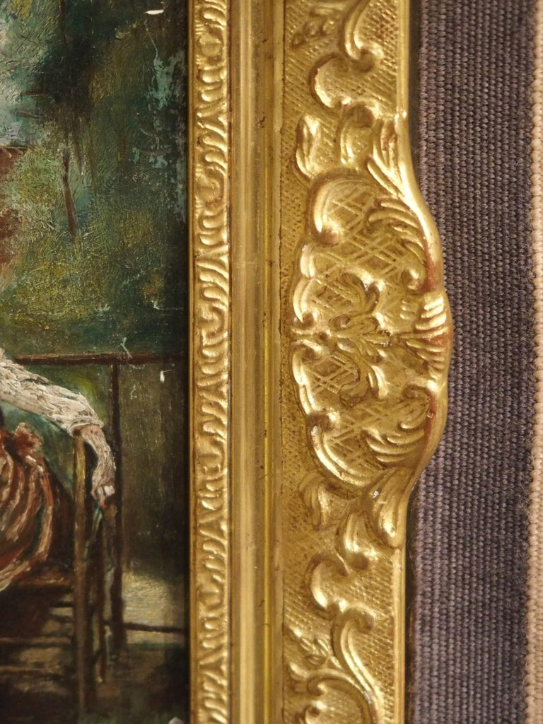 19th Century Oil Painting on Wood from France For Sale 5