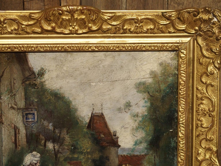 Hand-Painted 19th Century Oil Painting on Wood from France For Sale