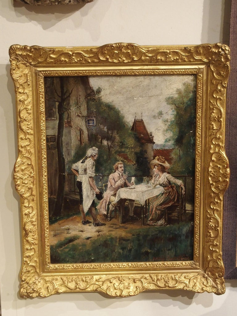 19th Century Oil Painting on Wood from France For Sale 3
