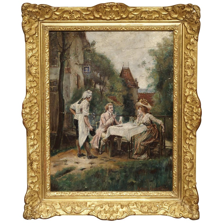 19th Century Oil Painting on Wood from France For Sale