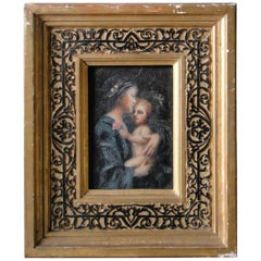 19th Century Oil Painting on Wood Panel Maria with Child with Gilded Frame