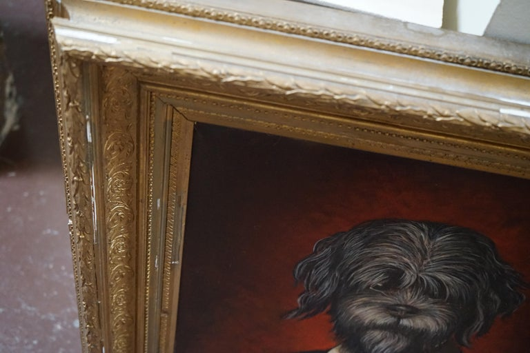 French 19th Century Oil Painting Portrait of a Dog For Sale