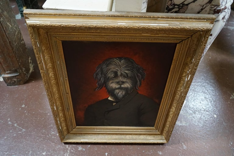 19th Century Oil Painting Portrait of a Dog In Good Condition For Sale In Dallas, TX