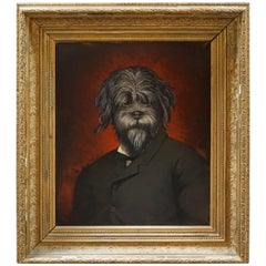 19th Century Oil Painting Portrait of a Dog