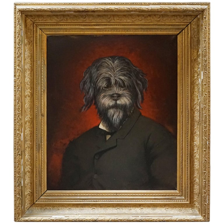 19th Century Oil Painting Portrait of a Dog For Sale