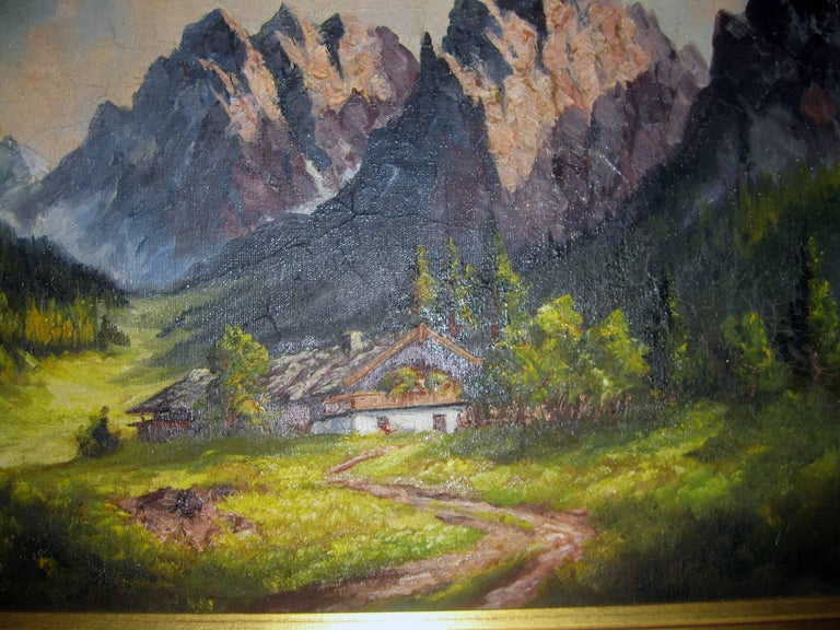 This tranquil fine oil painting depicts a quaint chalet nestled in the Swiss Alps (Seealpsee). Artist signed but it is not legible. Features include nice detail and color. Framed in vintage gilt frame. Measurement includes 2 1/4