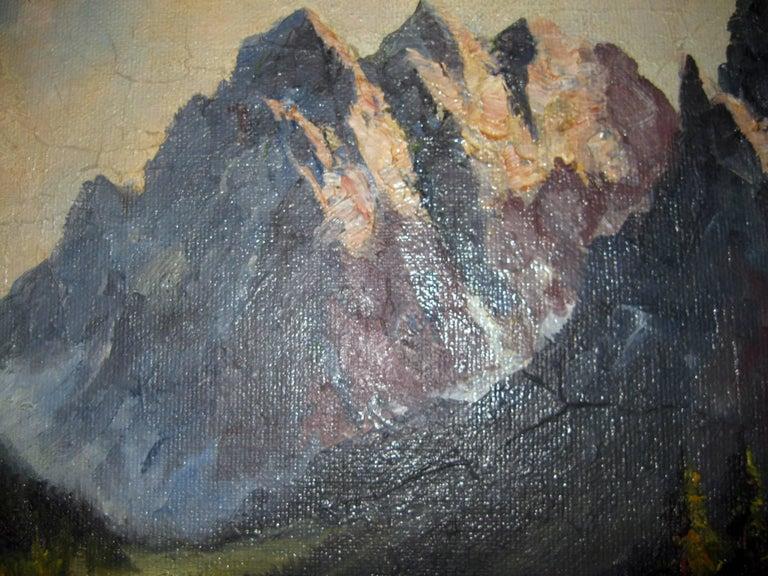Swiss 19th century Oil Painting Seealpsee, Switzerland For Sale