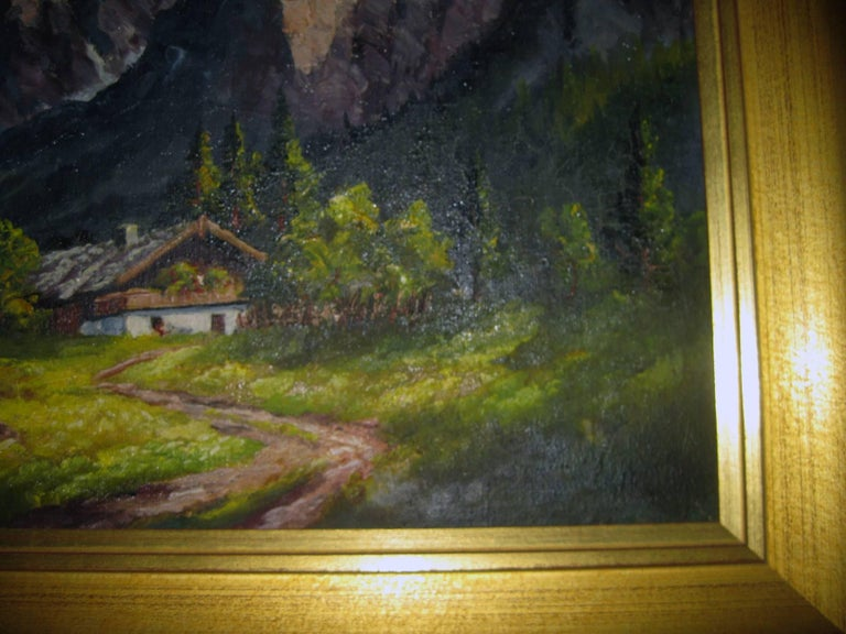 Painted 19th century Oil Painting Seealpsee, Switzerland For Sale