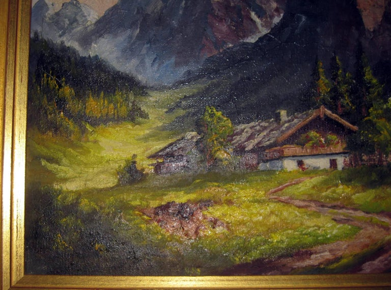 19th century Oil Painting Seealpsee, Switzerland In Good Condition For Sale In Savannah, GA