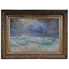 19th Century Oil Painting View from the Sea in a Big Gild Frame