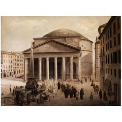 19th Century Oil Painting View of Pantheon by Joseph Langl Signed and Dated