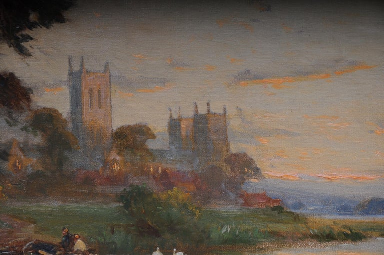19th Century Oil Paintings Canterbury Landscape W. Stuart Lloyd View from Castle For Sale 5