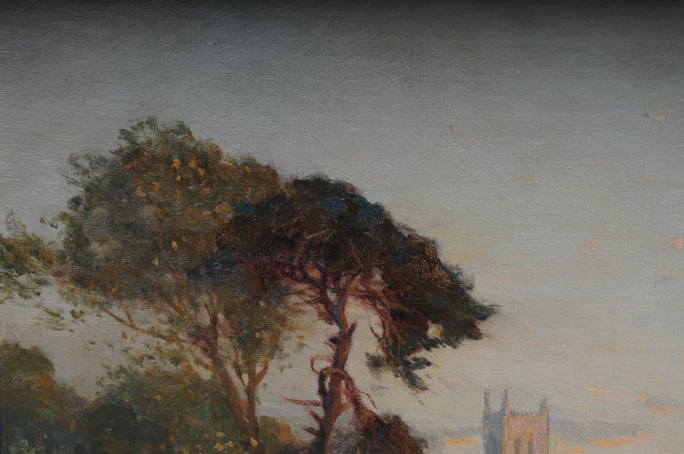 19th Century Oil Paintings Canterbury Landscape W. Stuart Lloyd View from Castle In Good Condition For Sale In Berlin, DE