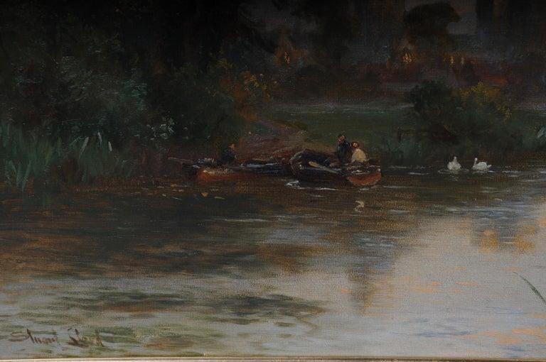 Canvas 19th Century Oil Paintings Canterbury Landscape W. Stuart Lloyd View from Castle For Sale