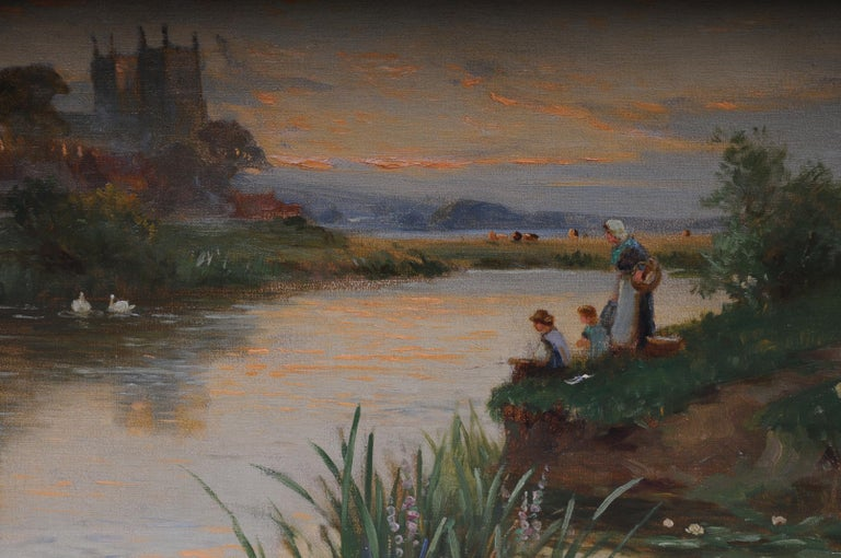 19th Century Oil Paintings Canterbury Landscape W. Stuart Lloyd View from Castle For Sale 2