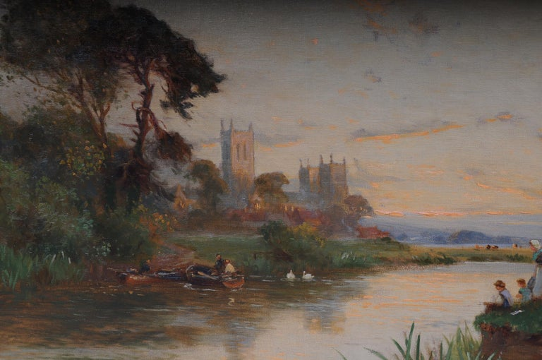 19th Century Oil Paintings Canterbury Landscape W. Stuart Lloyd View from Castle For Sale 3