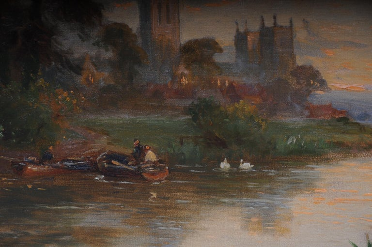 19th Century Oil Paintings Canterbury Landscape W. Stuart Lloyd View from Castle For Sale 4