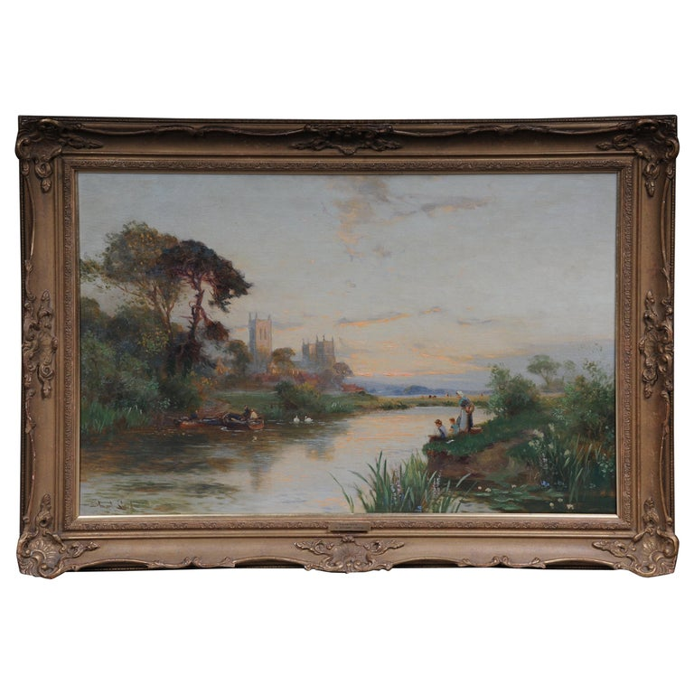 19th Century Oil Paintings Canterbury Landscape W. Stuart Lloyd View from Castle For Sale