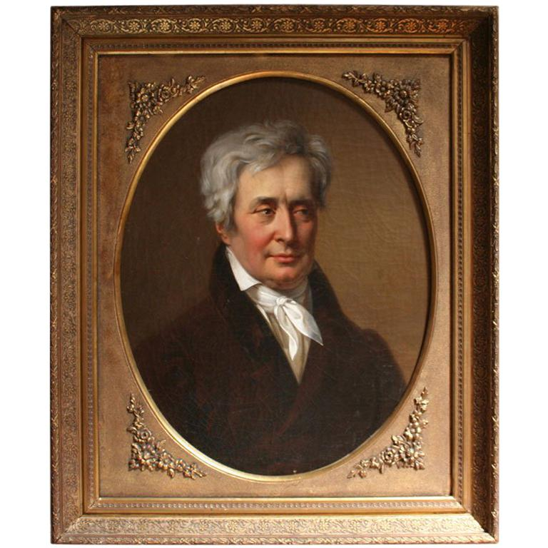 19th Century Oil Portrait Painting of a Count For Sale