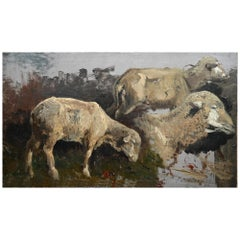 19th Century Oil Study with 3 Sheep Oil on Cardboard Signed Wenglein Dated