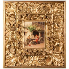 19th Century Oilpainting in Renaissance Style by J. Llaneces with Carved Frame