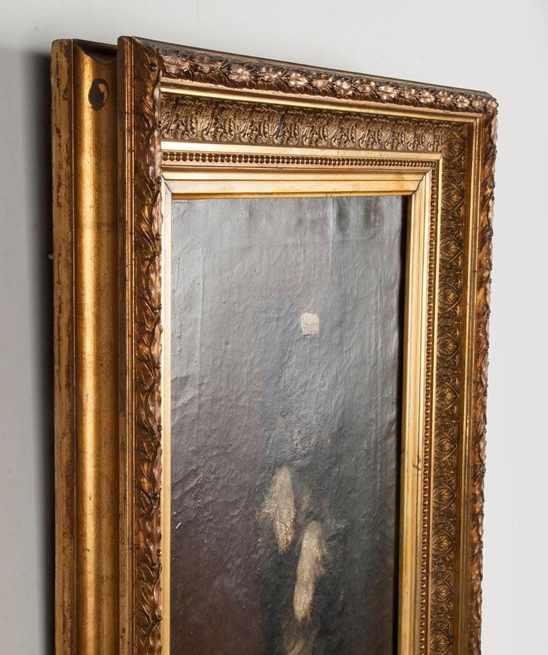 19th Century Oilpinting, Portrait of a Dog by César Geerinck For Sale 4