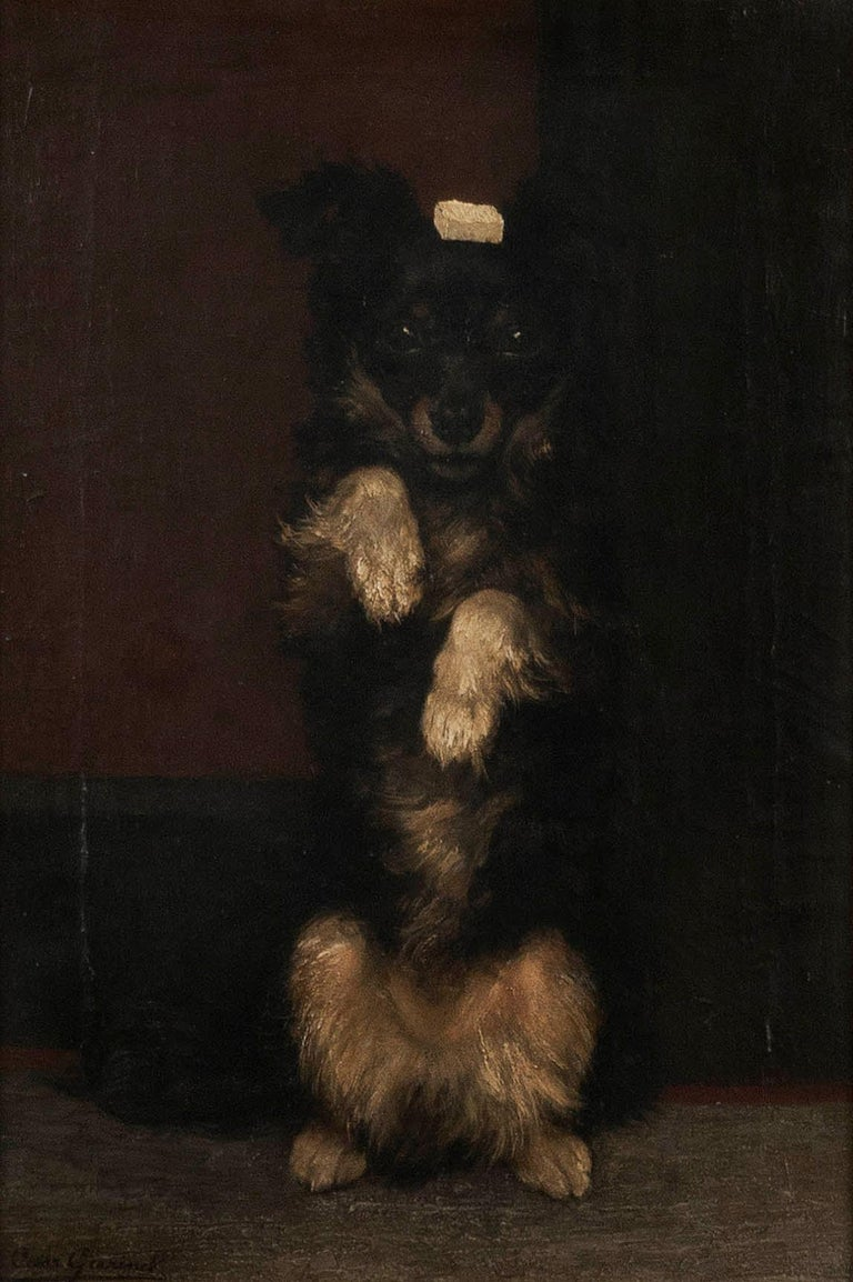 Romantic 19th Century Oilpinting, Portrait of a Dog by César Geerinck For Sale