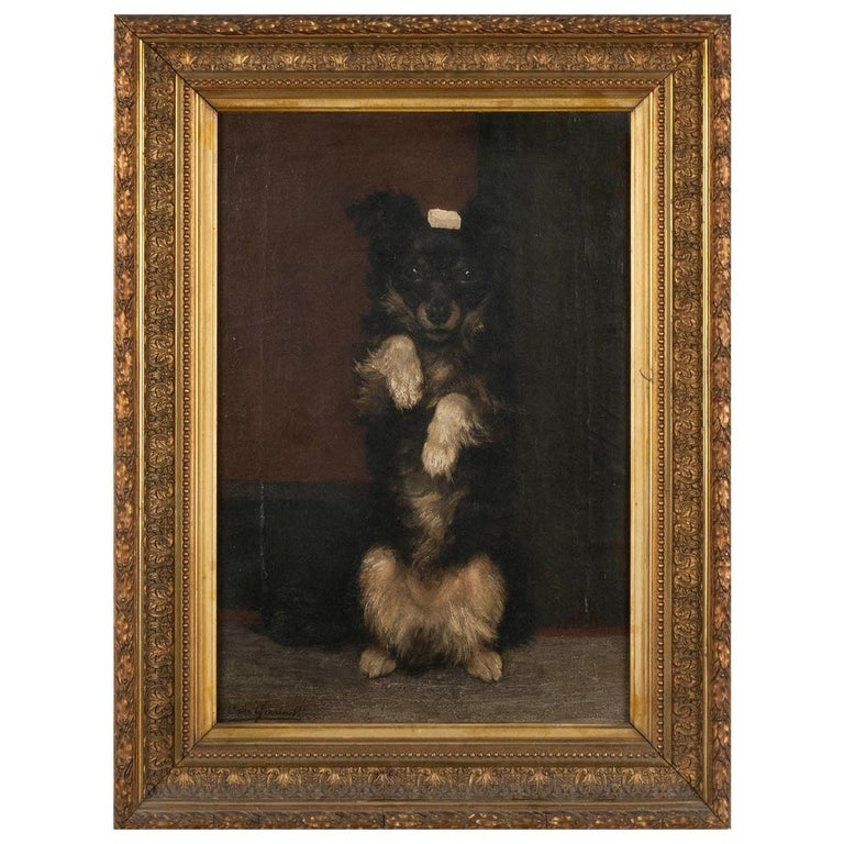 19th Century Oilpinting, Portrait of a Dog by César Geerinck For Sale