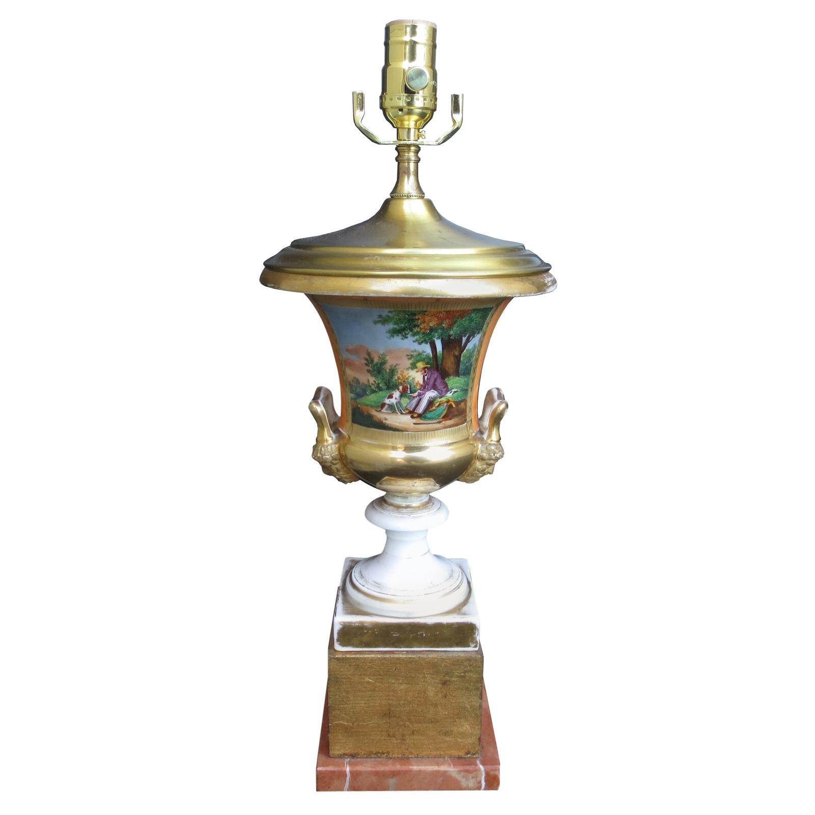 19th Century Old Paris Porcelain Urn as Lamp