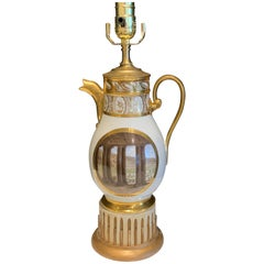 19th Century Old Paris Topographical Coffee Pot, Now as a Lamp
