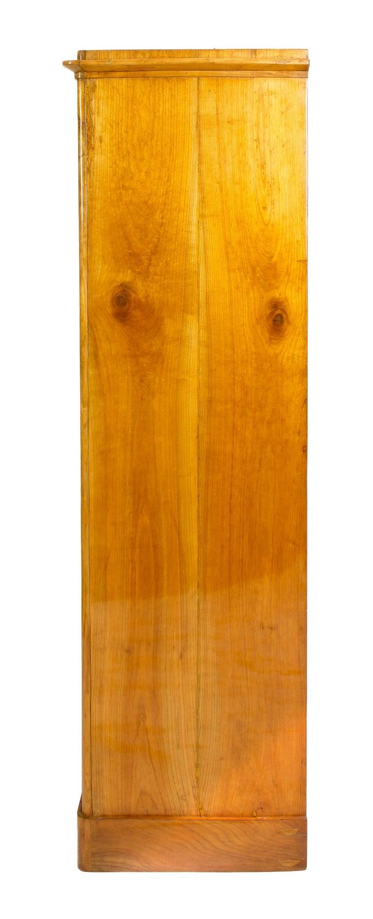 Polished 19th Century One-Door Biedermeier Cherry Cabinet / Wardrobe For Sale