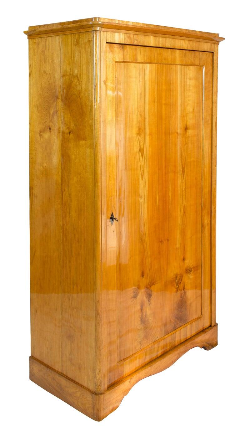 Spruce 19th Century One-Door Biedermeier Cherry Cabinet / Wardrobe For Sale