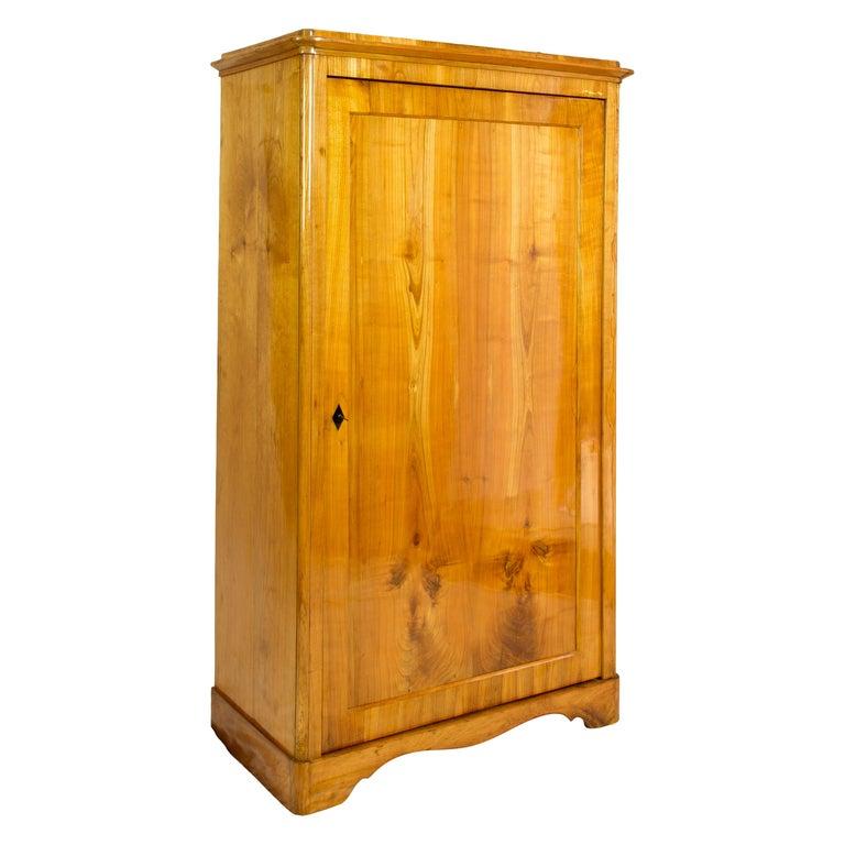 19th Century One-Door Biedermeier Cherry Cabinet / Wardrobe For Sale