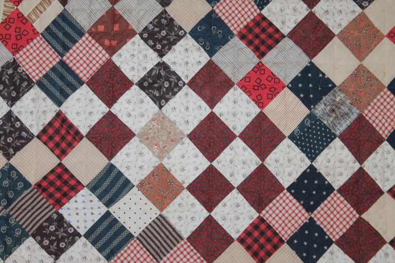 19th Century One Patch Crib Quilt Mounted For Sale At