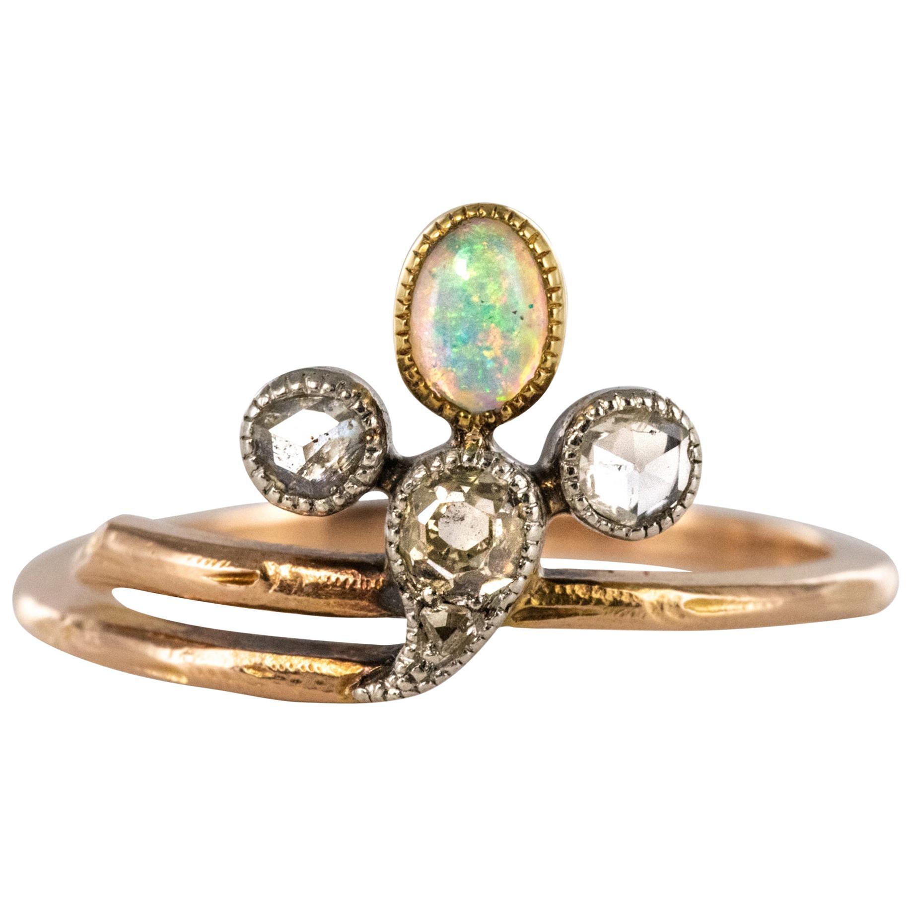 19th Century Opal Diamonds 18 Karat Rose Gold Ring