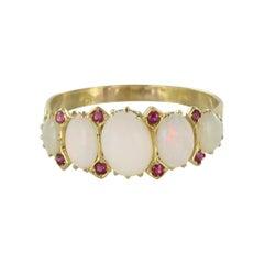 19th Century Opal Ruby 18 Karat Yellow Gold Garter Ring