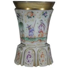 Antique Bohemian European Opaline Glass Goblet Chinoiserie Motive 19th Century