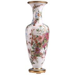 19th Century Opaline Vase Decorated with Flowers