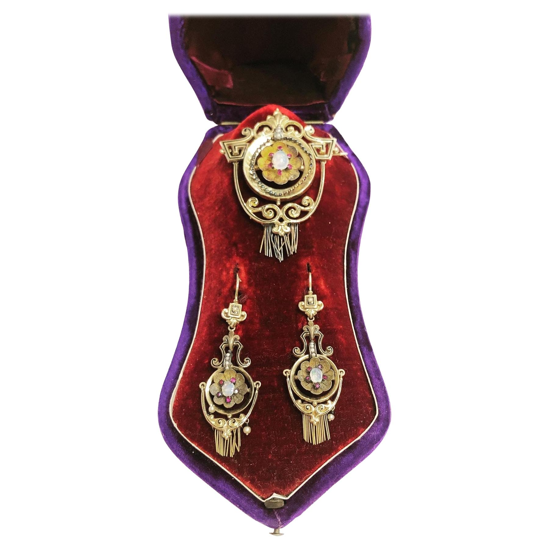 19th Century Opal, Pearl and Red Tourmaline Yellow Gold Earrings and Brooch Set