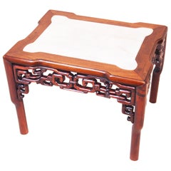 19th Century Oriental Hardwood & Marble Coffee Table