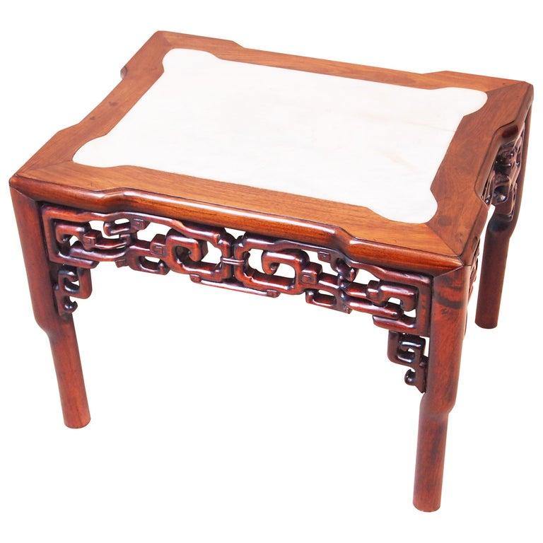 19th Century Oriental Hardwood & Marble Coffee Table