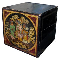 19th Century Oriental Painted Square Tea Box