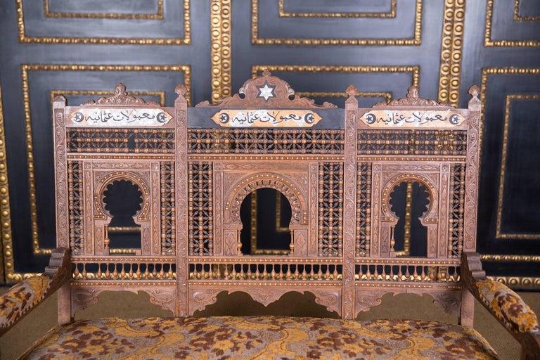 Islamic 19th Century, Oriental Seat Group with Inlays Marakesch, circa 1900
