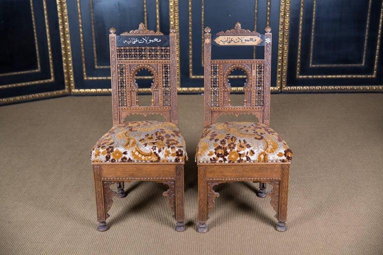 Beech 19th Century, Oriental Seat Group with Inlays Marakesch, circa 1900
