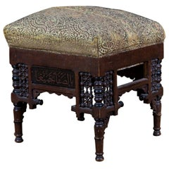 19th Century, Oriental Stool with Inlaid Marakesch, circa 1900
